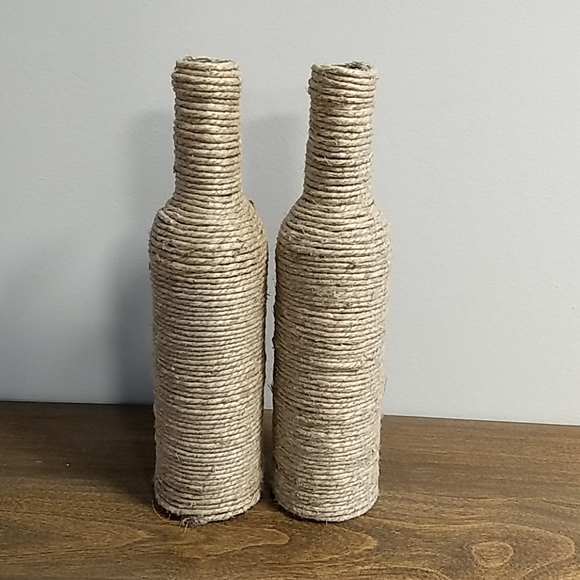 Pair of twine wrapped bottles